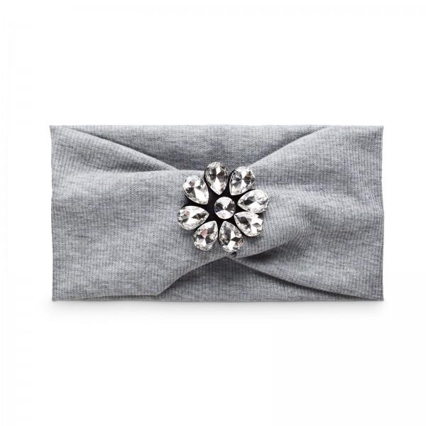 Stirnband Flowerpower Grau